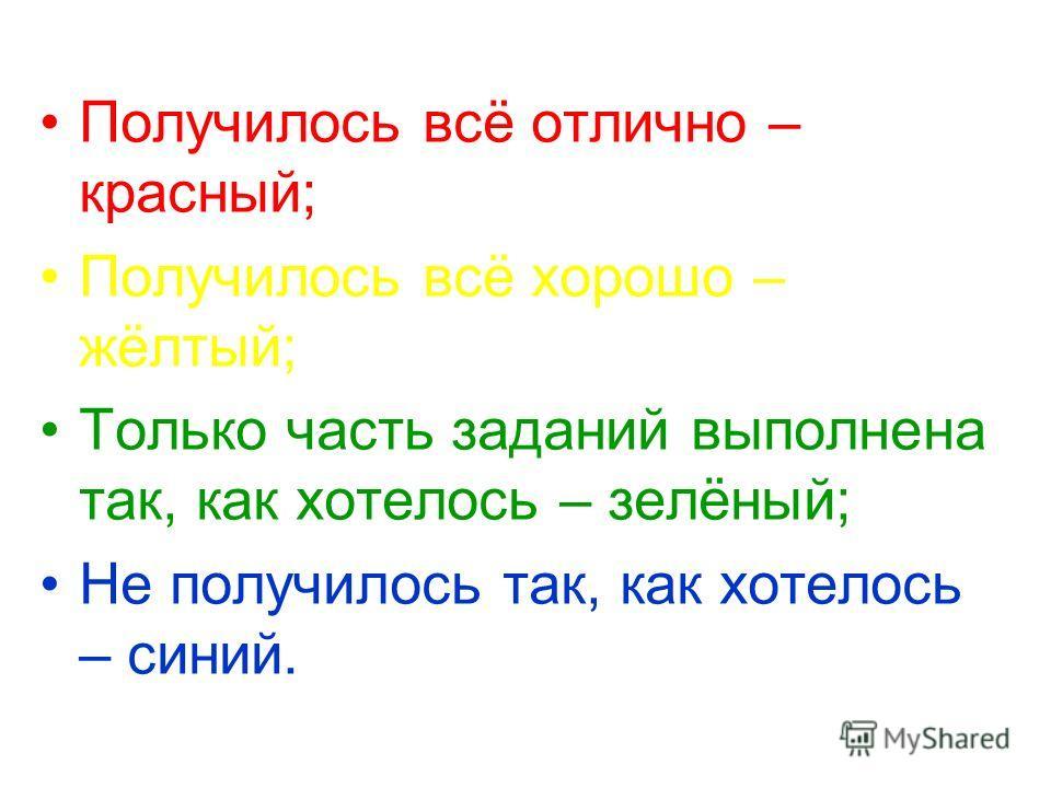 Получилось всё отлично – красный; Получилось всё хорошо – жёлтый; Только часть заданий выполнена так, как хотелось – зелёный; Не получилось так, как хотелось – синий.