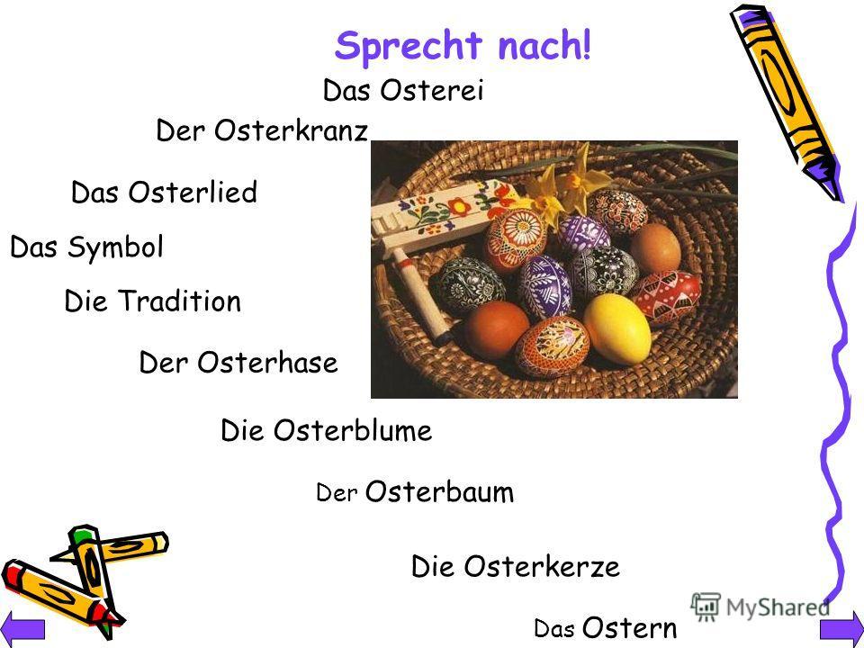 Das Osterei Der Osterkranz Das Osterlied Das Symbol Die Tradition Der Osterhase Die Osterblume Der Osterbaum Die Osterkerze Das Ostern Sprecht nach!