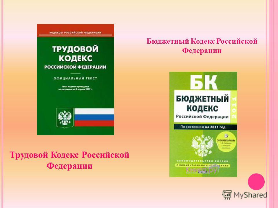 Трудовой Кодекс Российской Федерации Бюджетный Кодекс Российской Федерации