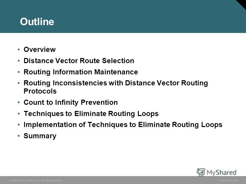© 2006 Cisco Systems, Inc. All rights reserved. ICND v2.33-2 Outline Overview Distance Vector Route Selection Routing Information Maintenance Routing Inconsistencies with Distance Vector Routing Protocols Count to Infinity Prevention Techniques to El