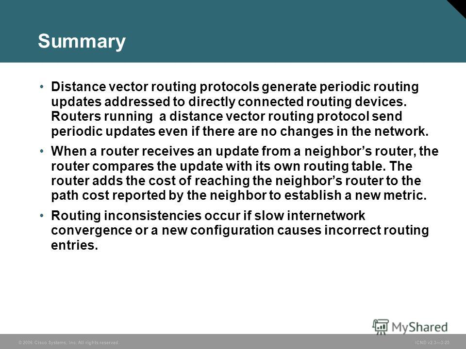 © 2006 Cisco Systems, Inc. All rights reserved. ICND v2.33-25 Summary Distance vector routing protocols generate periodic routing updates addressed to directly connected routing devices. Routers running a distance vector routing protocol send periodi