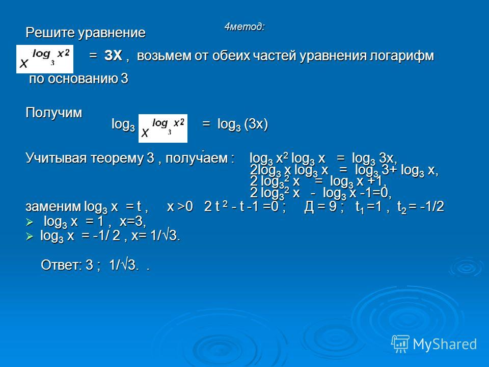 4 метод: Решите уравнение = ЗХ, возьмем от обеих частей уравнения логарифм = ЗХ, возьмем от обеих частей уравнения логарифм по основанию 3 по основанию 3 Получим log 3 = log 3 (3 х) log 3 = log 3 (3 х).. Учитывая теорему 3, получаем : log 3 х 2 log 3