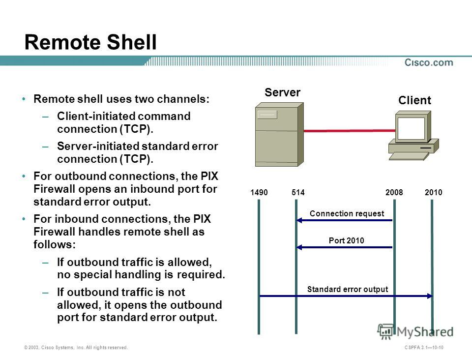 © 2003, Cisco Systems, Inc. All rights reserved. CSPFA 3.110-10 Remote Shell Server Client 200820101490514 Connection request Port 2010 Remote shell uses two channels: –Client-initiated command connection (TCP). –Server-initiated standard error conne