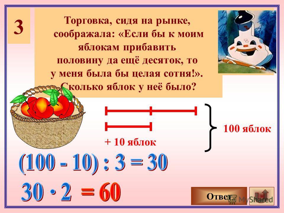 3 Торговка, сидя на рынке, соображала: «Если бы к моим яблокам прибавить половину да ещё десяток, то у меня была бы целая сотня!». Сколько яблок у неё было? Ответ + 10 яблок 100 яблок