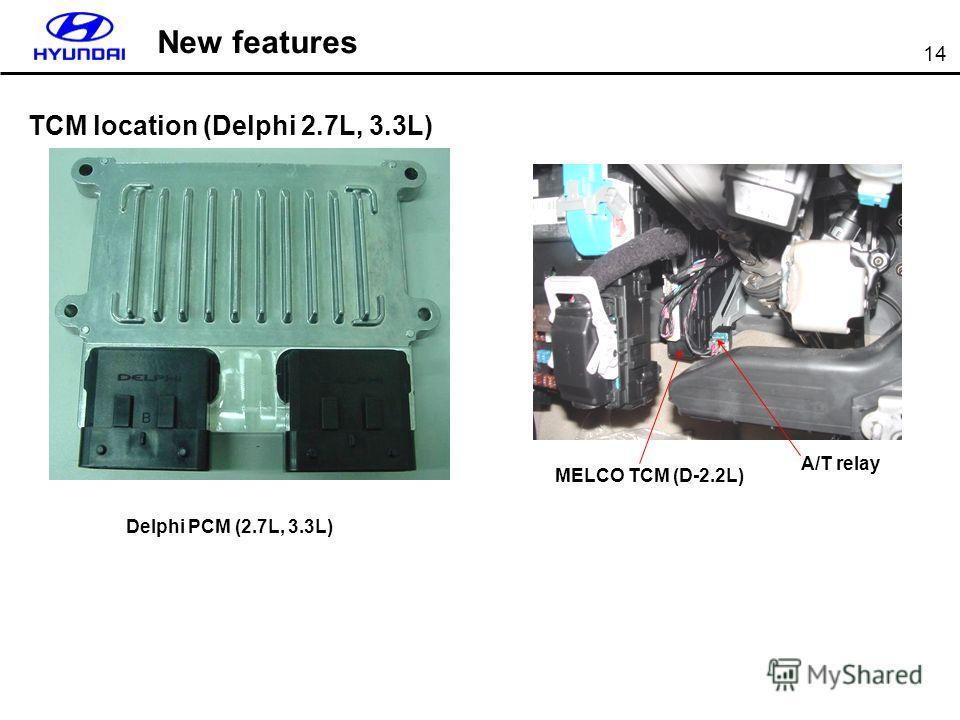 14 TCM location (Delphi 2.7L, 3.3L) New features Delphi PCM (2.7L, 3.3L) MELCO TCM (D-2.2L) A/T relay