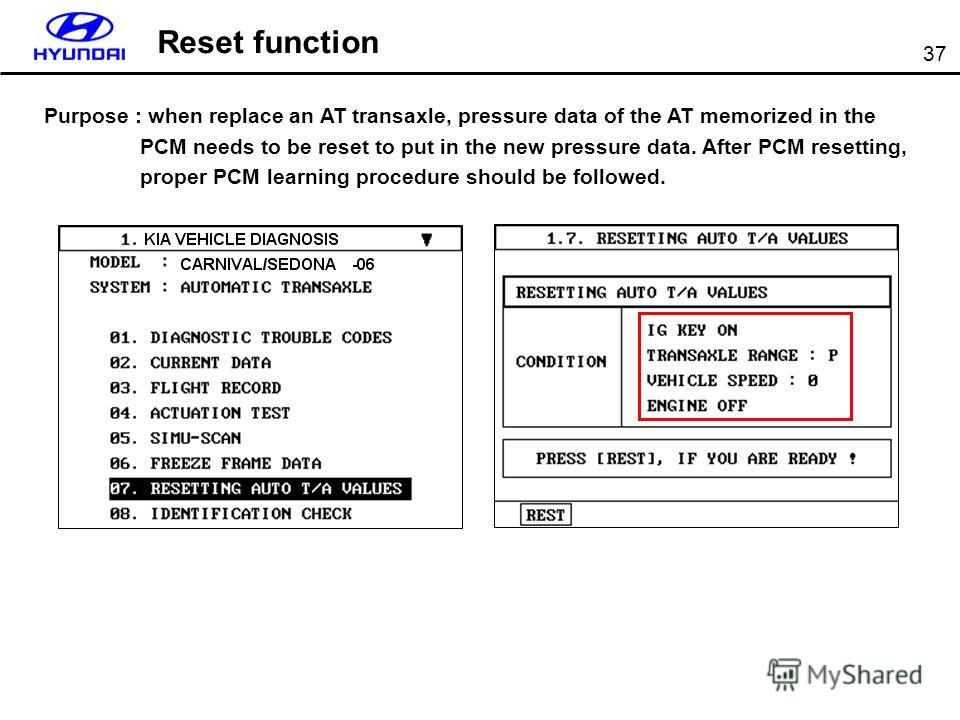 37 Reset function Purpose : when replace an AT transaxle, pressure data of the AT memorized in the PCM needs to be reset to put in the new pressure data. After PCM resetting, proper PCM learning procedure should be followed.