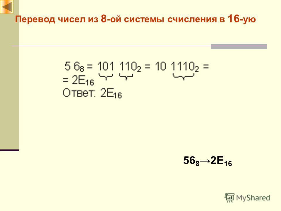 Перевод чисел из 8 -ой системы счисления в 16 -ую 56 82E 16