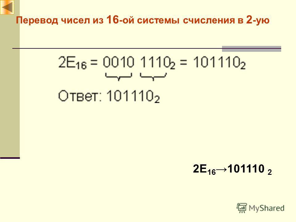 Перевод чисел из 16 -ой системы счисления в 2 -ую 2E 16101110 2