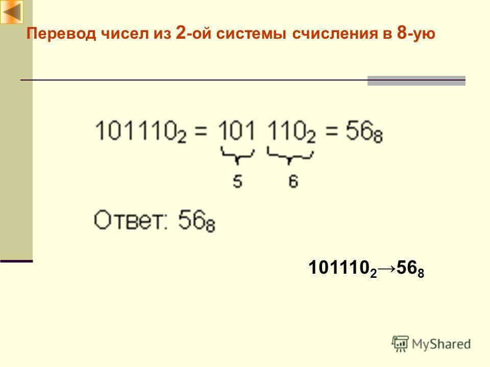 Перевод чисел из 2 -ой системы счисления в 8 -ую 101110 256 8