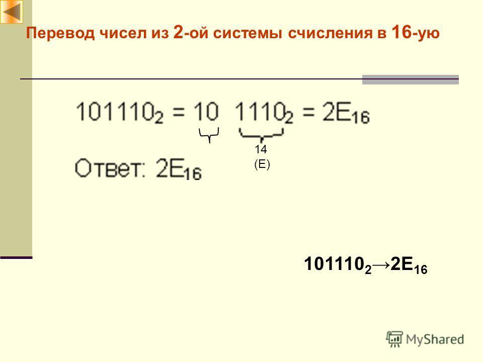Перевод чисел из 2 -ой системы счисления в 16 -ую 14 (E) 101110 22E 16