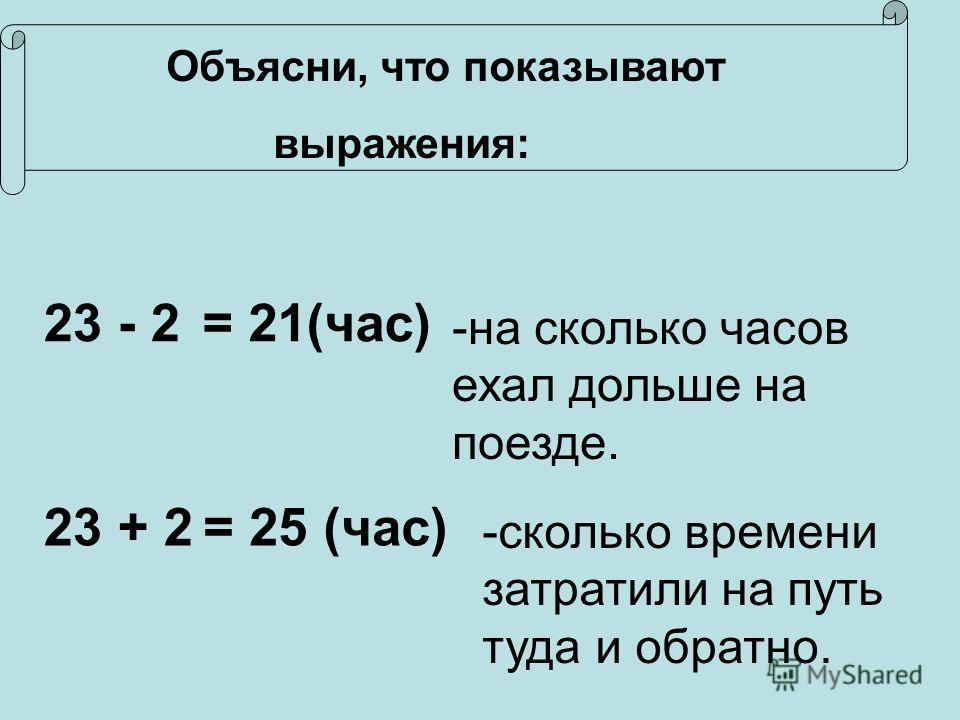 Объясни, что показывают выражения: 23 - 2 -н-на сколько часов ехал дольше на поезде. = 21(час) 23 + 2= 25 (час) -сколько времени затратили на путь туда и обратно.