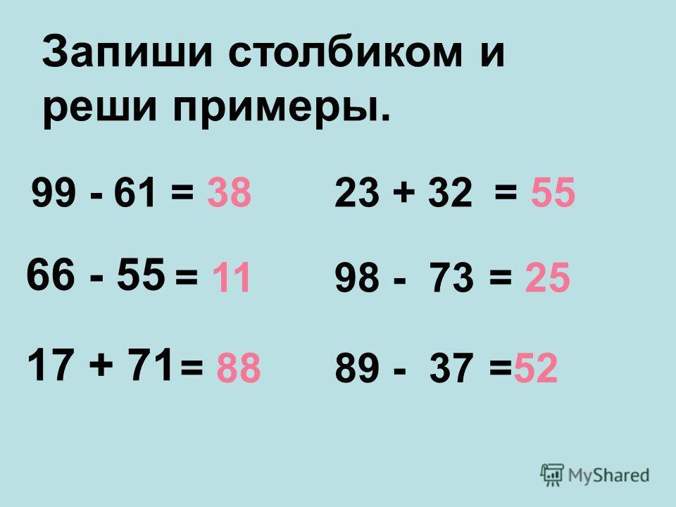 Запиши столбиком и реши примеры. 99 - 61 66 - 55 17 + 71 = 38 = 11 = 88 23 + 32 = 55 98 - 73 = 25 89 - 37 =52