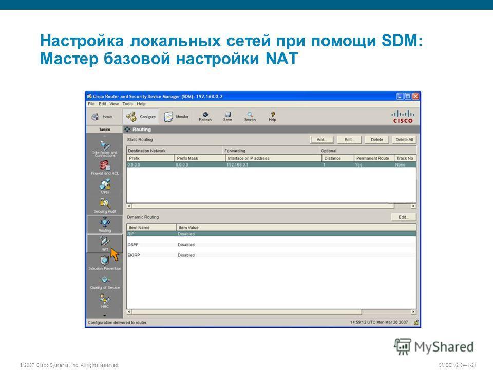 © 2007 Cisco Systems, Inc. All rights reserved. SMBE v2.01-21 Настройка локальных сетей при помощи SDM: Мастер базовой настройки NAT