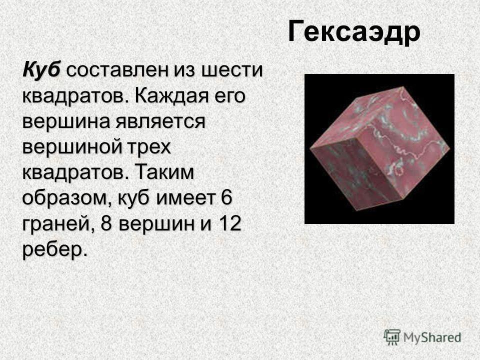 Гексаэдр Куб составлен из шести квадратов. Каждая его вершина является вершиной трех квадратов. Таким образом, куб имеет 6 граней, 8 вершин и 12 ребер.