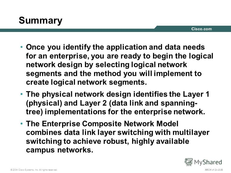 © 2004 Cisco Systems, Inc. All rights reserved. ARCH v1.22-28 Summary Once you identify the application and data needs for an enterprise, you are ready to begin the logical network design by selecting logical network segments and the method you will