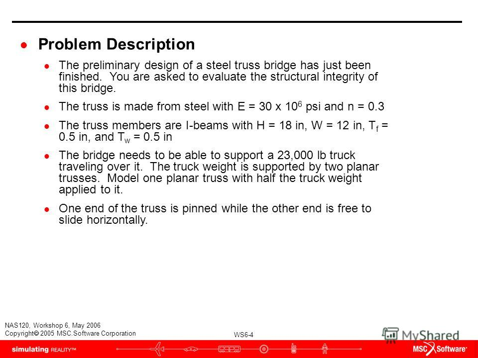 WS6-4 NAS120, Workshop 6, May 2006 Copyright 2005 MSC.Software Corporation l Problem Description l The preliminary design of a steel truss bridge has just been finished. You are asked to evaluate the structural integrity of this bridge. l The truss i