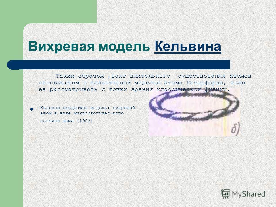 Вихревая модель Кельвина Кельвина Кельвин предложил модель: вихревой атом в виде микроскопичес-кого колечка дыма (1902) Таким образом,факт длительного существования атомов несовместим с планетарной моделью атома Резерфорда, если ее рассматривать с то