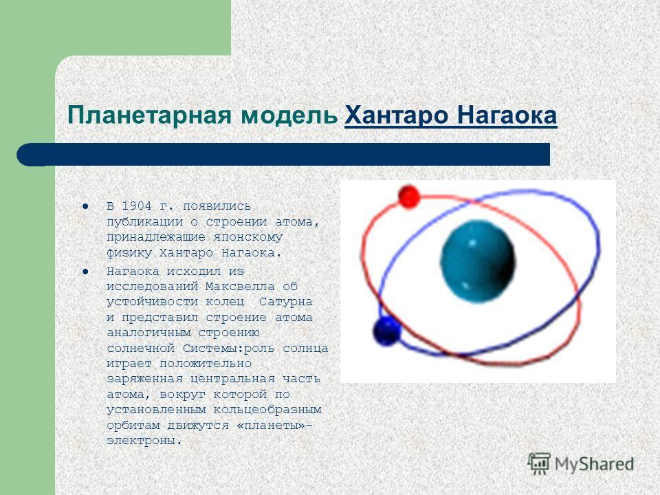 Планетарная модель Хантаро Нагаока Хантаро Нагаока В 1904 г. появились публикации о строении атома, принадлежащие японскому физику Хантаро Нагаока. Нагаока исходил из исследований Максвелла об устойчивости колец Сатурна и представил строение атома ан