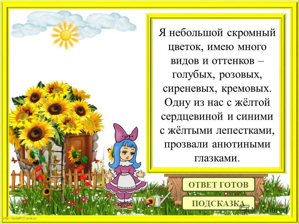http://linda6035.ucoz.ru/ Я небольшой скромный цветок, имею много видов и оттенков – голубых, розовых, сиреневых, кремовых. Одну из нас с жёлтой сердцевиной и синими с жёлтыми лепестками, прозвали анютиными глазками. ОТВЕТ ГОТОВ ПОДСКАЗКА