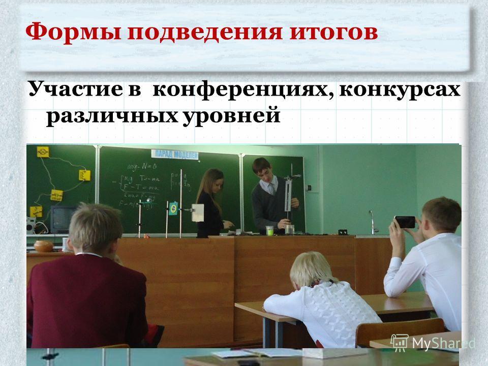 Формы подведения итогов Участие в конференциях, конкурсах различных уровней