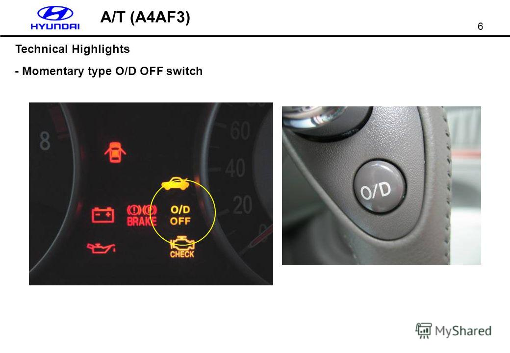 6 Technical Highlights - Momentary type O/D OFF switch A/T (A4AF3)