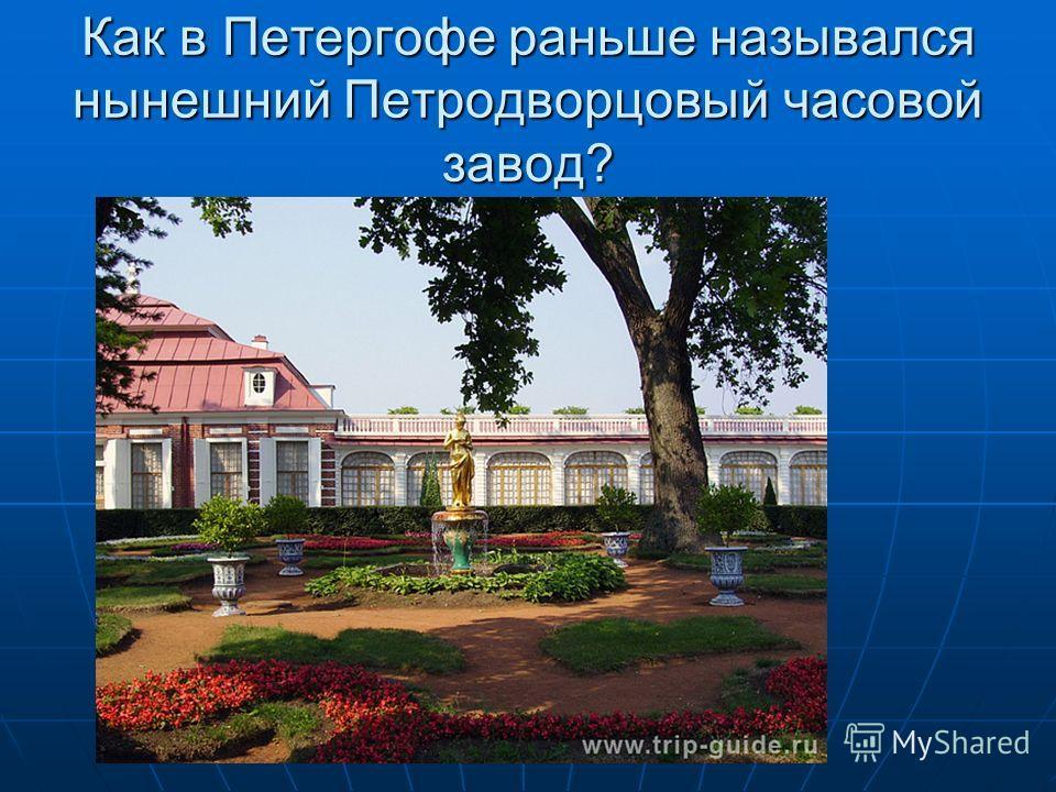Как в Петергофе раньше назывался нынешний Петродворцовый часовой завод?