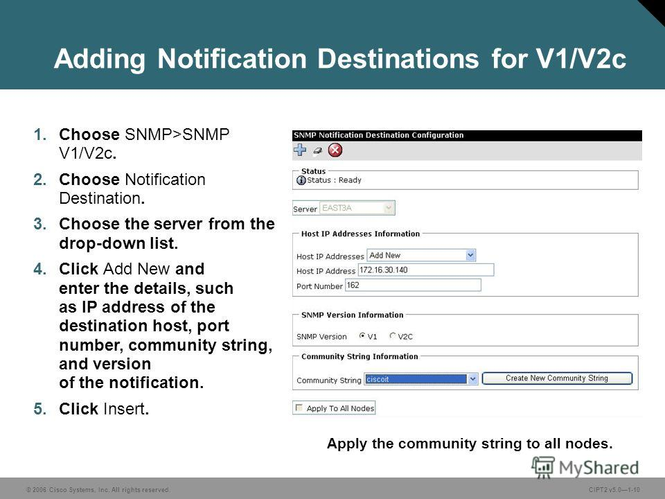 © 2006 Cisco Systems, Inc. All rights reserved.CIPT2 v5.01-10 Adding Notification Destinations for V1/V2c 1. Choose SNMP>SNMP V1/V2c. 2. Choose Notification Destination. 3. Choose the server from the drop-down list. 4. Click Add New and enter the det