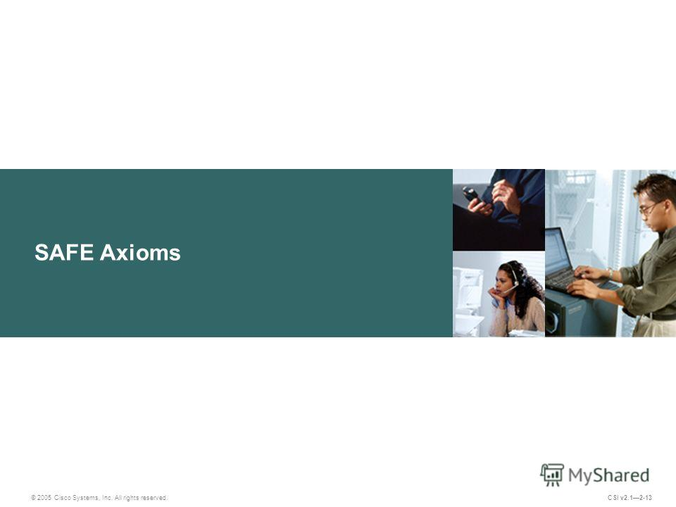 SAFE Axioms © 2005 Cisco Systems, Inc. All rights reserved. CSI v2.12-13