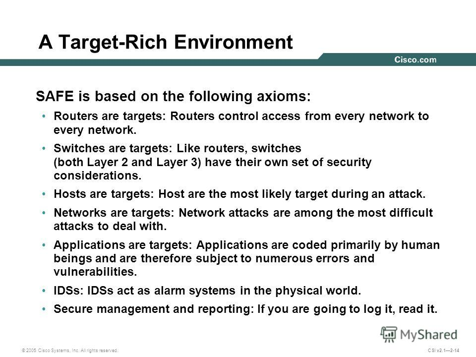 © 2005 Cisco Systems, Inc. All rights reserved. CSI v2.12-14 A Target-Rich Environment SAFE is based on the following axioms: Routers are targets: Routers control access from every network to every network. Switches are targets: Like routers, switche