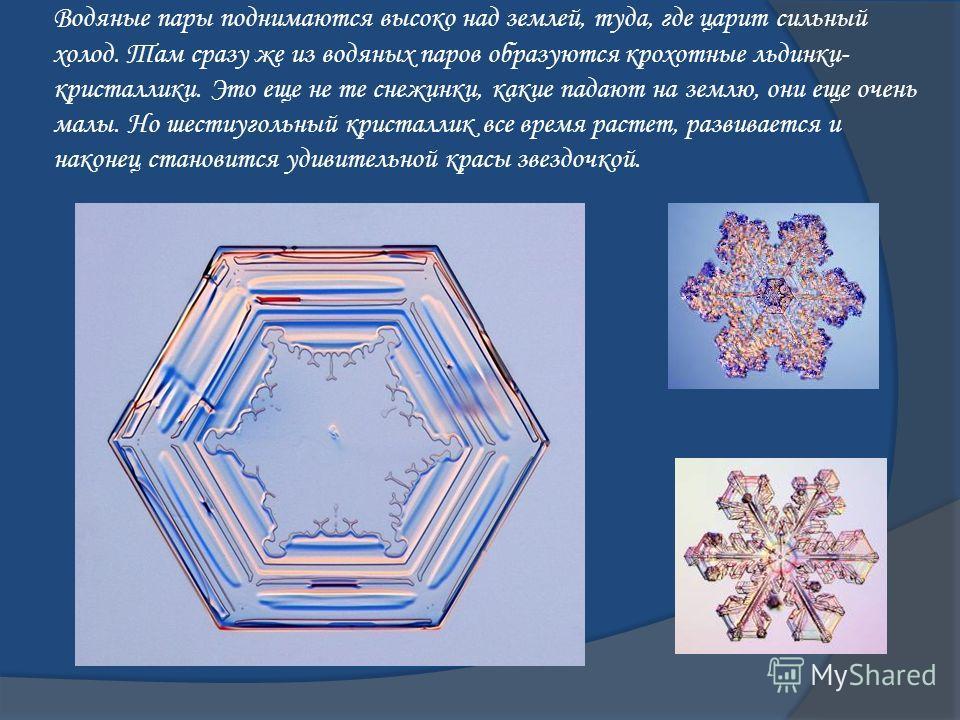 Водяные пары поднимаются высоко над землей, туда, где царит сильный холод. Там сразу же из водяных паров образуются крохотные льдинки- кристаллики. Это еще не те снежинки, какие падают на землю, они еще очень малы. Но шестиугольный кристаллик все вре