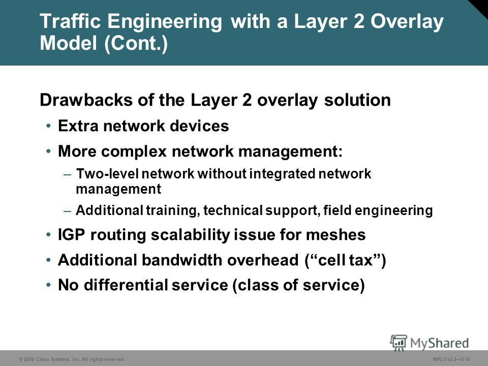 © 2006 Cisco Systems, Inc. All rights reserved. MPLS v2.28-10 Traffic Engineering with a Layer 2 Overlay Model (Cont.) Drawbacks of the Layer 2 overlay solution Extra network devices More complex network management: –Two-level network without integra