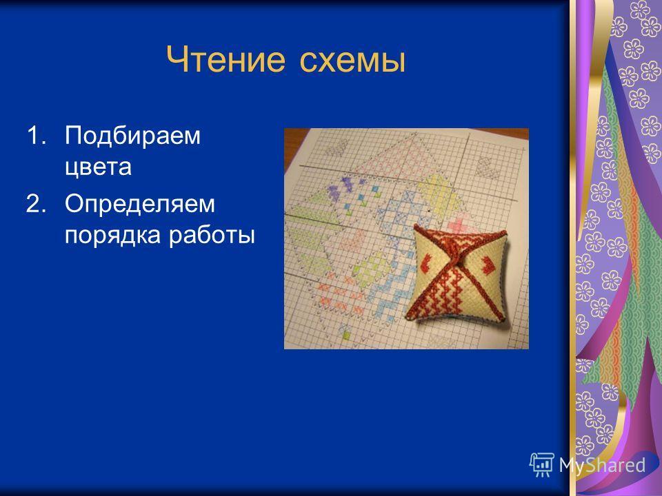 Чтение схемы 1. Подбираем цвета 2. Определяем порядка работы