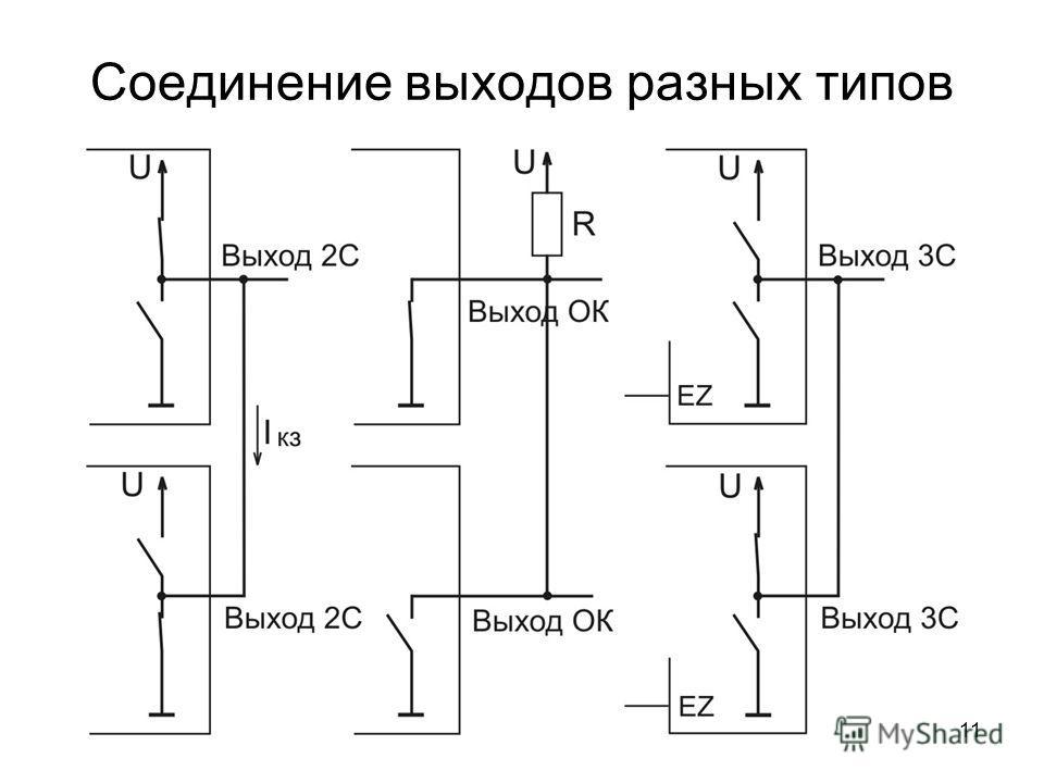 11 Соединение выходов разных типов