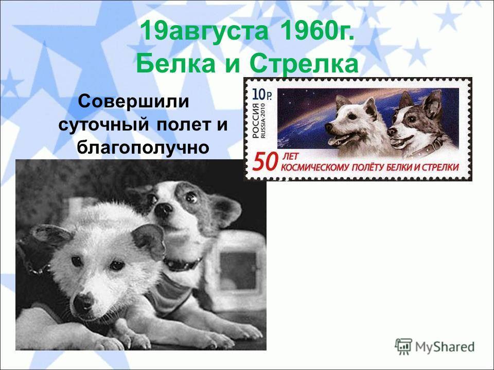 19 августа 1960 г. Белка и Стрелка Совершили суточный полет и благополучно вернулись на Землю!