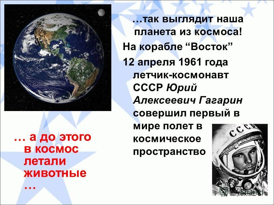 …так выглядит наша планета из космоса! На корабле Восток 12 апреля 1961 года летчик-космонавт СССР Юрий Алексеевич Гагарин совершил первый в мире полет в космическое пространство … а до этого в космос летали животные …