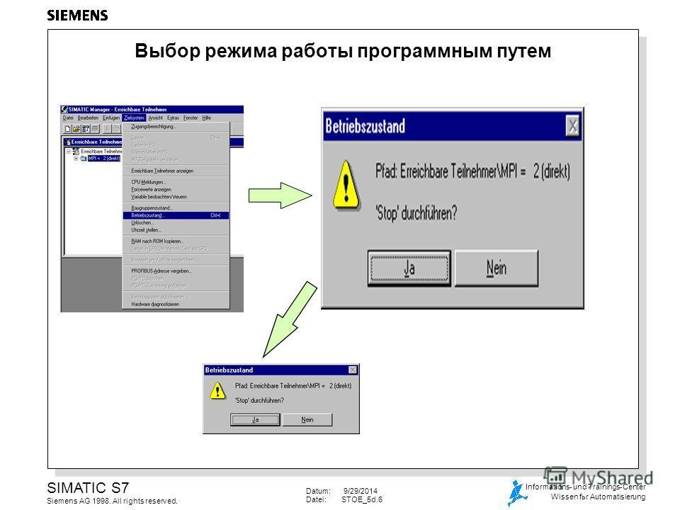 Datum: 9/29/2014 Datei:STOE_5d.6 SIMATIC S7 Siemens AG 1998. All rights reserved. Informations- und Trainings-Center Wissen fьr Automatisierung Выбор режима работы программным путем