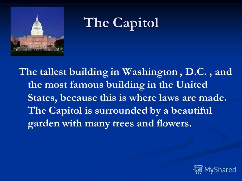 The Capitol The tallest building in Washington, D.C., and the most famous building in the United States, because this is where laws are made. The Capitol is surrounded by a beautiful garden with many trees and flowers.