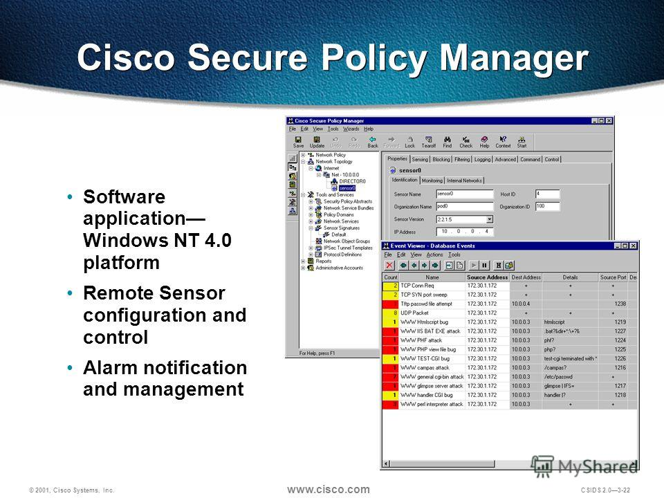 © 2001, Cisco Systems, Inc. www.cisco.com CSIDS 2.03-22 Software application Windows NT 4.0 platform Remote Sensor configuration and control Alarm notification and management Cisco Secure Policy Manager