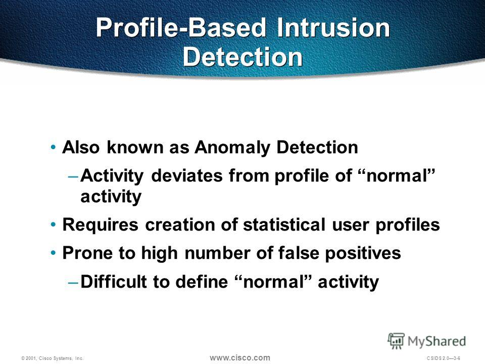© 2001, Cisco Systems, Inc. www.cisco.com CSIDS 2.03-6 Profile-Based Intrusion Detection Also known as Anomaly Detection –Activity deviates from profile of normal activity Requires creation of statistical user profiles Prone to high number of false p