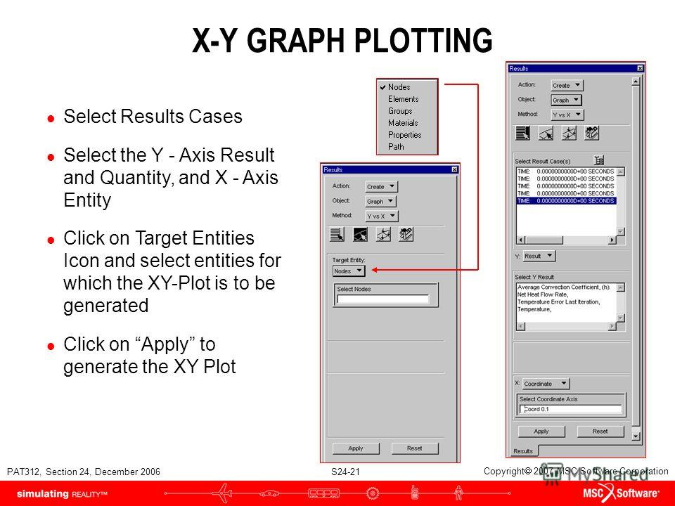 PAT312, Section 24, December 2006 S24-21 Copyright 2007 MSC.Software Corporation X-Y GRAPH PLOTTING l Select Results Cases l Select the Y - Axis Result and Quantity, and X - Axis Entity l Click on Target Entities Icon and select entities for which th