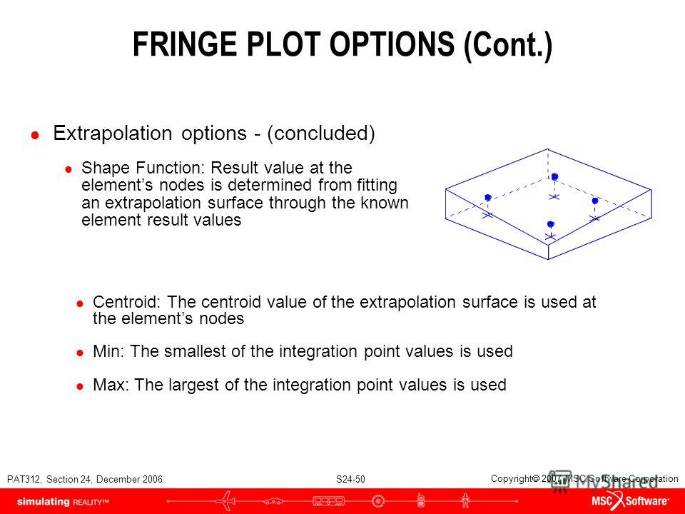 PAT312, Section 24, December 2006 S24-50 Copyright 2007 MSC.Software Corporation FRINGE PLOT OPTIONS (Cont.) l Extrapolation options - (concluded) l Shape Function: Result value at the elements nodes is determined from fitting an extrapolation surfac