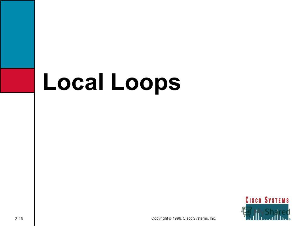Local Loops 2-16 Copyright © 1998, Cisco Systems, Inc.