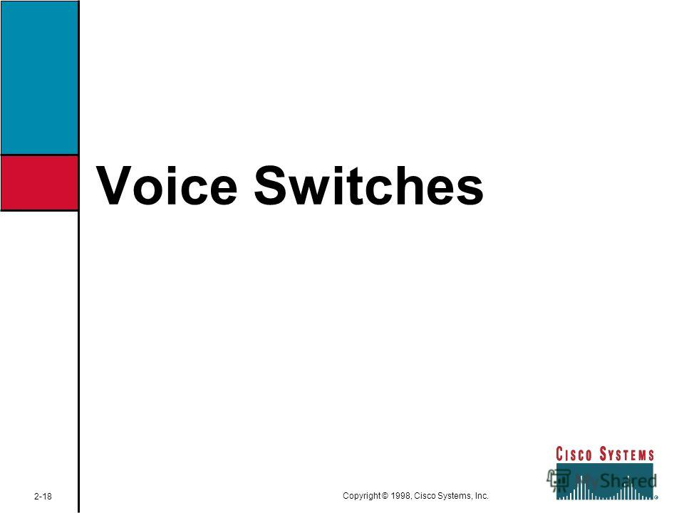 Voice Switches 2-18 Copyright © 1998, Cisco Systems, Inc.