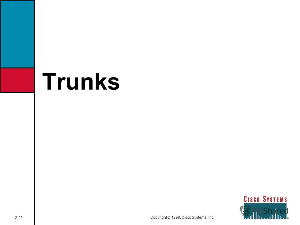 Trunks 2-23 Copyright © 1998, Cisco Systems, Inc.