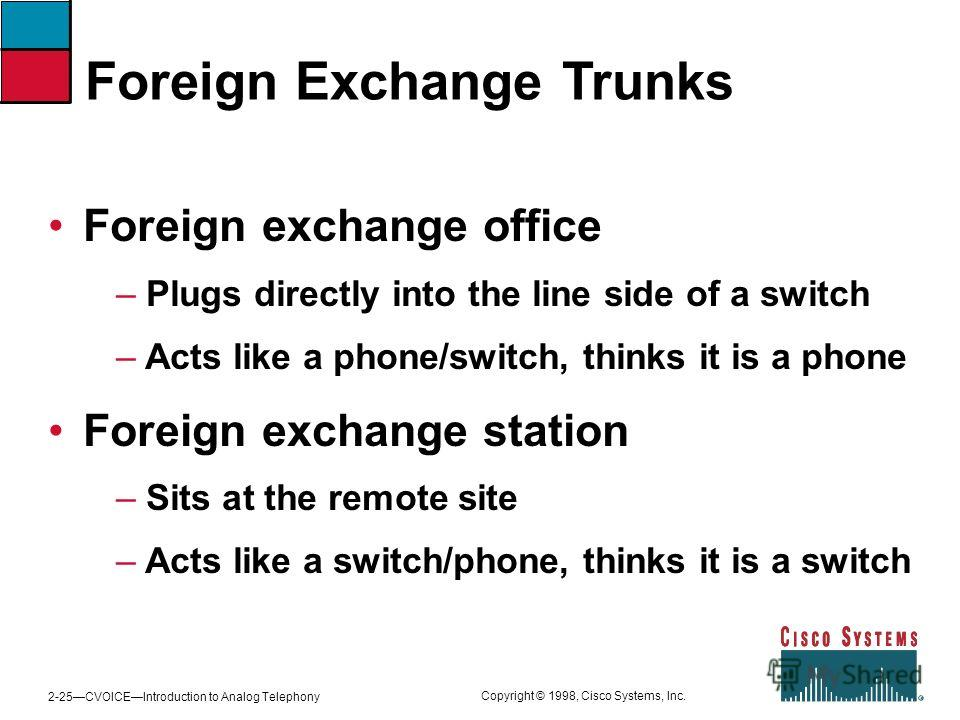 2-25CVOICEIntroduction to Analog Telephony Copyright © 1998, Cisco Systems, Inc. Foreign Exchange Trunks Foreign exchange office – Plugs directly into the line side of a switch – Acts like a phone/switch, thinks it is a phone Foreign exchange station