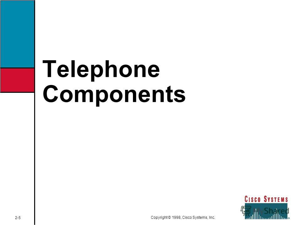 Telephone Components 2-5 Copyright © 1998, Cisco Systems, Inc.