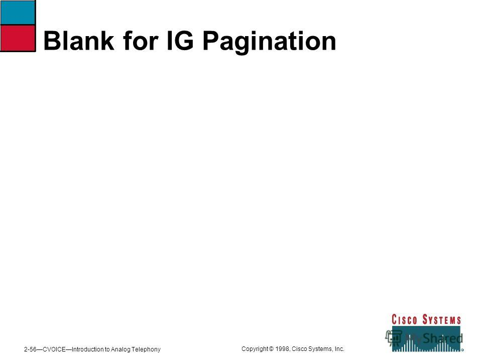 2-56CVOICEIntroduction to Analog Telephony Copyright © 1998, Cisco Systems, Inc. Blank for IG Pagination