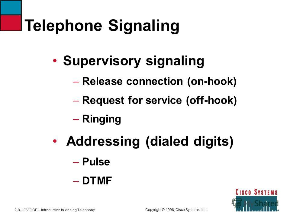 2-8CVOICEIntroduction to Analog Telephony Copyright © 1998, Cisco Systems, Inc. Telephone Signaling Supervisory signaling – Release connection (on-hook) – Request for service (off-hook) – Ringing Addressing (dialed digits) – Pulse – DTMF
