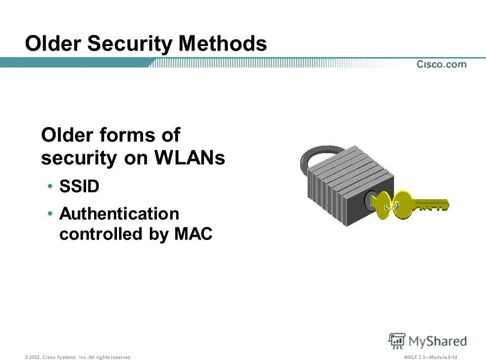 © 2002, Cisco Systems, Inc. All rights reserved. AWLF 3.0Module 9-14 Older Security Methods Older forms of security on WLANs SSID Authentication controlled by MAC
