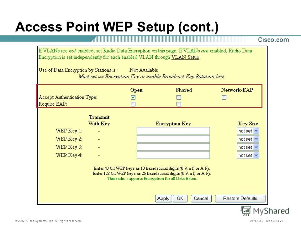 © 2002, Cisco Systems, Inc. All rights reserved. AWLF 3.0Module 9-20 Access Point WEP Setup (cont.)
